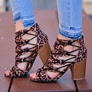 Shoes - Leopard Print Suede Strappy Open Toe Bootie